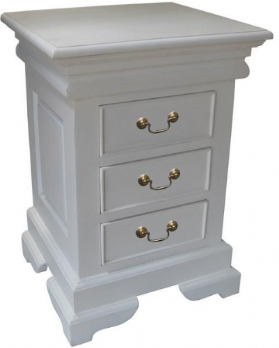 Sleigh 3 Drawer Chest in Antique White